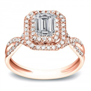 Rose Gold 4/5 ct TDW Emerald Halo Diamond Engagement Split Shank Ring - Handcrafted By Name My Rings™