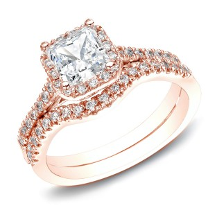 RoseGold 1 1/5ct TDW Princess-Cut Diamond Halo Engagement Wedding Ring Set - Handcrafted By Name My Rings™
