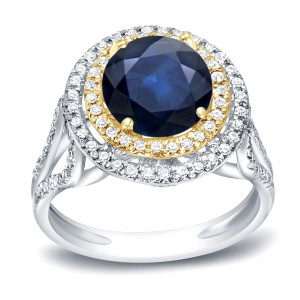 Two-Tone Gold 1 1/4ct Blue Sapphire and 1/2ct TDW Diamond Double Halo Ring - Handcrafted By Name My Rings™