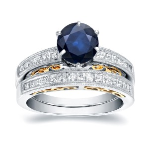 Two-Tone Gold 1ct Blue Sapphire and 3/4ct Diamond Bridal Ring Set - Handcrafted By Name My Rings™