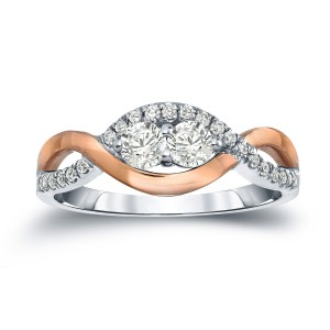 Two-Tone Gold 3/4ct TDW 2-Stone Round Diamond Engagement Ring - Handcrafted By Name My Rings™
