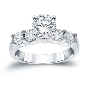 White Gold 1 1/2ct TDW Round Diamond Five-Stone Engagement Ring - Handcrafted By Name My Rings™