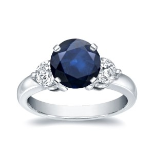 White Gold 1 1/4ct Blue Sapphire and 3/4ct TDW Diamond Three Stone Ring - Handcrafted By Name My Rings™