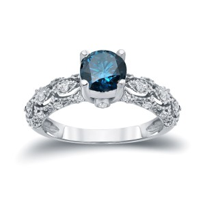 White Gold 1 1/4ct TW Blue and White Diamond Engagement Ring - Handcrafted By Name My Rings™