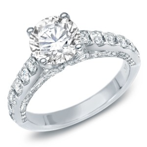 White Gold 1 3/4ct TDW Certified Round Diamond Engagement Ring - Handcrafted By Name My Rings™