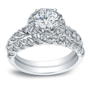 White Gold 1 3/5ct TDW Certified Round-cut Diamond Rope Style Halo Bridal Ring Set - Handcrafted By Name My Rings™