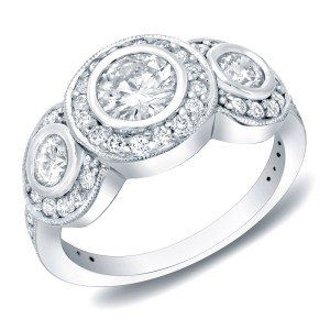 White Gold 1.50ct TDW Round Bezel Diamond Engagement Ring - Handcrafted By Name My Rings™