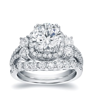 White Gold 2 1/3ct TDW Certified Diamond Halo Engagement Ring Set - Handcrafted By Name My Rings™