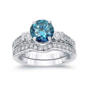 White Gold 2ct TDW Round-Cut Blue Diamond Bridal Ring Set - Handcrafted By Name My Rings™