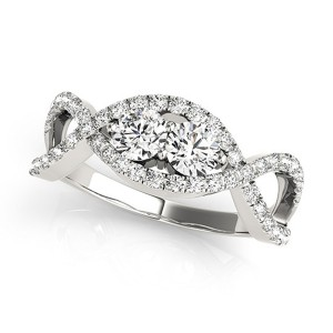 White Gold 3/4ct TDW 2-stone Diamond Infinity Engagement Ring - Handcrafted By Name My Rings™