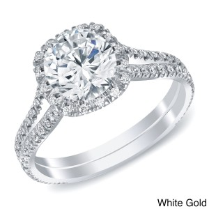 White or Gold 1 4/5ct TDW Round Halo Diamond Engagement Ring - Handcrafted By Name My Rings™