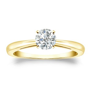 Gold 1/3ct TDW Round Diamond Solitaire Engagement Ring - Handcrafted By Name My Rings™
