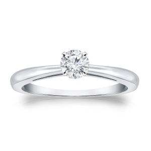 Gold 1/4ct TDW Round Diamond Solitaire Engagement Ring - Handcrafted By Name My Rings™