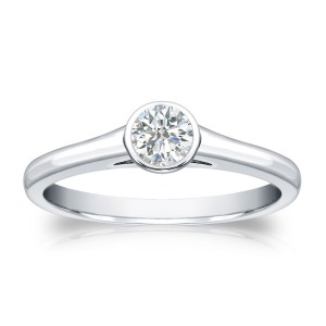 Gold 1/4ct TDW Round-cut Diamond Solitaire Bezel Engagement Ring - Handcrafted By Name My Rings™