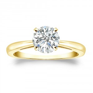 Gold 1ct TDW Round-cut Diamond Solitaire Engagement Ring - Handcrafted By Name My Rings™
