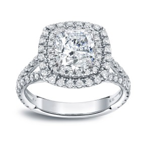 Gold 2 1/2ct TDW Certified Cushion Cut Diamond Engagement Ring - Handcrafted By Name My Rings™