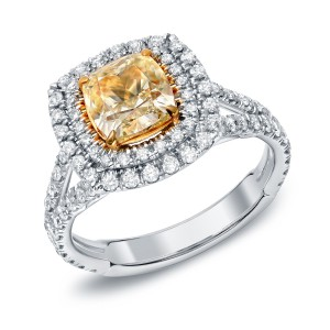 Gold 2 1/2ct TDW Certified Fancy Yellow Cushion-cut Diamond Ring - Handcrafted By Name My Rings™