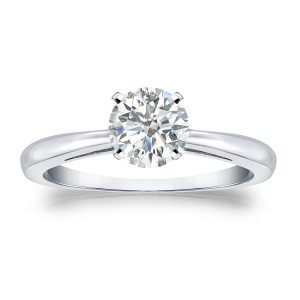 Gold 3/4ct TDW Round Diamond Solitaire Engagement Ring - Handcrafted By Name My Rings™