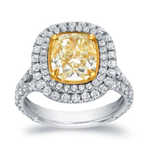 Two-tone Gold 4 1/5ct TDW Certified Cushion-cut Double Halo Fancy Yellow Diamond Engagement Ring - Handcrafted By Name My Rings™