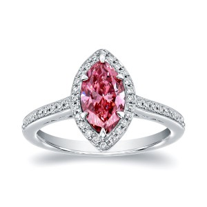 White Gold 1 1/3ct TDW Marquise Halo Pink Diamond Engagement Ring - Handcrafted By Name My Rings™