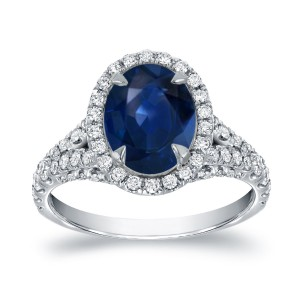 White Gold 2ct Blue Sapphire and 1ct TDW Diamond Halo Ring - Handcrafted By Name My Rings™