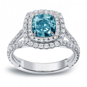 White Gold 2ct TDW Blue Diamond Double Halo Engagement Ring - Handcrafted By Name My Rings™