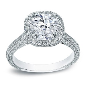 White Gold 3ct TDW Certified Cushion Halo Engagement Ring - Handcrafted By Name My Rings™