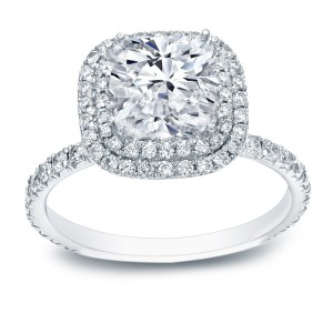 White Gold 3ct TDW Cushion-cut Certified Diamond Double Halo Engagement Ring - Handcrafted By Name My Rings™