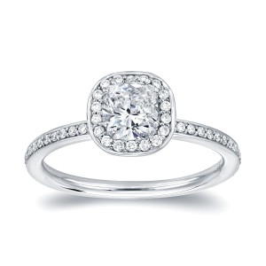 White Gold 4/5ct TDW Cushion Halo Diamond Engagement Ring - Handcrafted By Name My Rings™