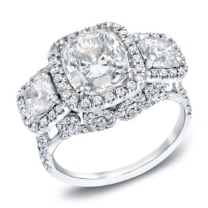 White Gold 5ct TDW Certified Cushion Cut Diamond Ring - Handcrafted By Name My Rings™