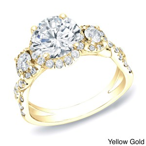 Certified Gold 2ct TDW Round Halo Diamond Engagement Ring - Handcrafted By Name My Rings™
