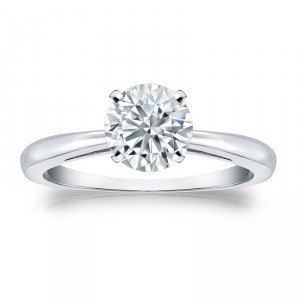 GIA Certified Platinum 4-Prong 1 ct. TDW Round-Cut Diamond Solitaire Engagement - Handcrafted By Name My Rings™