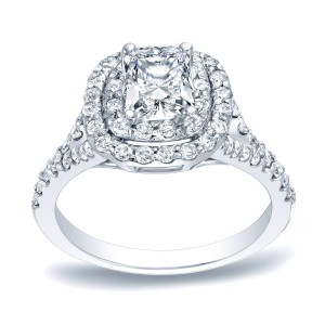 Platinum 1 1/4ct TDW Cushion Double Halo Diamond Engagement Ring - Handcrafted By Name My Rings™