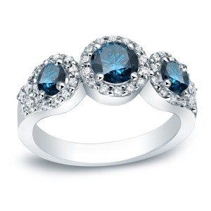 Platinum 1 1/5ct TDW Round Blue and White Halo Diamond Engagement Ring - Handcrafted By Name My Rings™