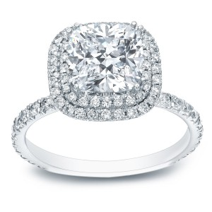 Platinum 1 3/4ct TDW Certified Cushion-Cut Diamond Double Halo Engagement Ring - Handcrafted By Name My Rings™