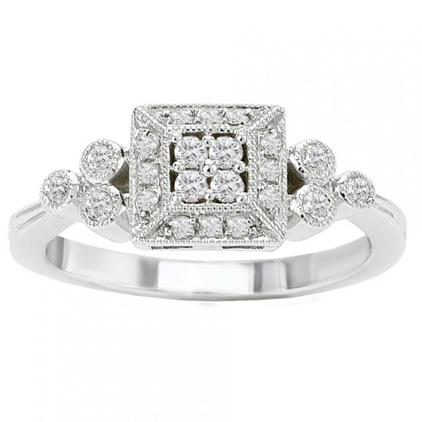 White Gold 1/4ct TDW Diamond Vintage Princess Halo Ring - Handcrafted By Name My Rings™