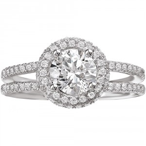 White Gold 3/4ct TDW Split Shank Diamond Halo Engagement Ring - Handcrafted By Name My Rings™