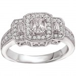 White Gold 3/4ct TDW Vintage Three-stone Emerald-cut Diamond Ring - Handcrafted By Name My Rings™