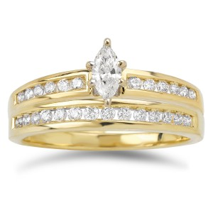Gold 2/5ct TDW Marquise and Baguette Diamond Bridal Ring Set - Handcrafted By Name My Rings™