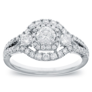 White Gold 1ct TDW Vintage-style Halo Diamond Ring - Handcrafted By Name My Rings™
