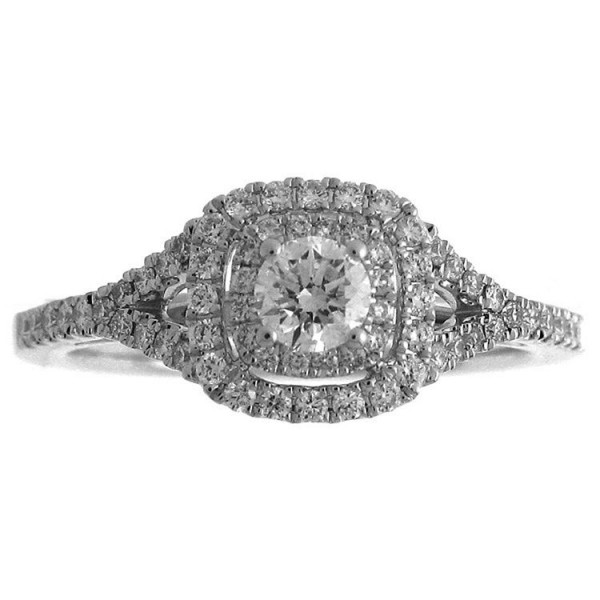 White Gold 3/5ct TDW Diamond Double Halo Engagement Ring - Handcrafted By Name My Rings™