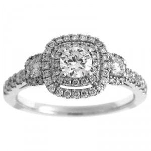 White Gold 7/8ct TDW Diamond Round Double Halo Engagement Ring - Handcrafted By Name My Rings™