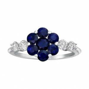 White Gold Blue Sapphire and 2/5ct Diamond Engagement Ring - Handcrafted By Name My Rings™