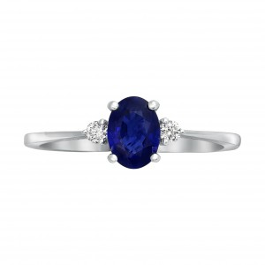 White Gold Oval Shape Vivid Blue Sapphire and Diamond Engagement Ring - Handcrafted By Name My Rings™