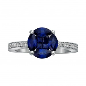White Gold Vivid Blue Sapphire and 1/6ct Diamond Engagement Ring - Handcrafted By Name My Rings™