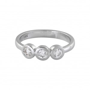 White Gold 1/2ct TDW 3-stone Ring - Handcrafted By Name My Rings™