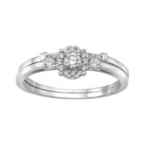 White Gold 1/3ct TDW 3-stone Halo Bridal Ring Set - Handcrafted By Name My Rings™
