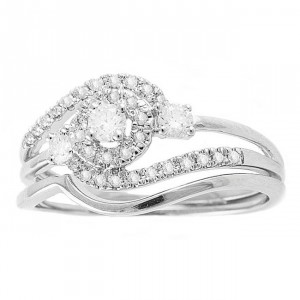 White Gold 1/3ct TDW Round Swirl Halo Diamond Bridal Set - Handcrafted By Name My Rings™
