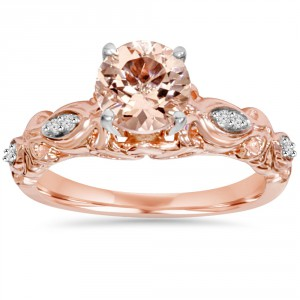 Bliss Engagement Rose Gold 1/ 16 ct TDW Morganite and Diamond Vintage Ring - Handcrafted By Name My Rings™
