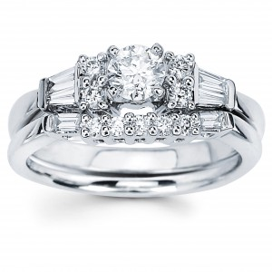Diamonds White Gold 3/4ct TDW Round and Baguette Diamond Engagement Ring - Handcrafted By Name My Rings™